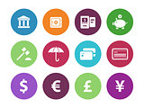 Banking circle icons on white background.