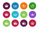 Shopping Basket circle icons on white background.