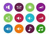 Speaker circle icons on white background.