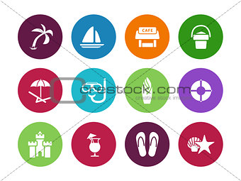 Beach circle icons on white background.