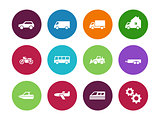 Transport circle icons on white background.