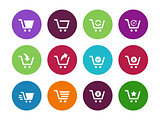 Shopping cart circle icons on white background.