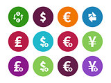 Exchange Rate circle icons on white background
