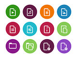 Set of Files circle icons on white background.