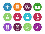 Hospital circle icons on white background.