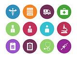 Hospital circle icons on white background.