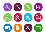 Magician circle icons isolated.