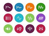 Music waves circle icons on white background.