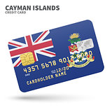Credit card with Cayman Islands flag background for bank, presentations and business. Isolated on white
