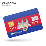 Credit card with Cambodia flag background for bank, presentations and business. Isolated on white