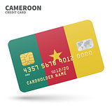 Credit card with Cameroon flag background for bank, presentations and business. Isolated on white