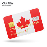 Credit card with Canada flag background for bank, presentations and business. Isolated on white