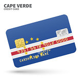 Credit card with Cape Verde flag background for bank, presentations and business. Isolated on white
