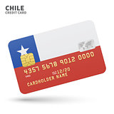 Credit card with Chile flag background for bank, presentations and business. Isolated on white