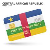 Credit card with Central African Republic flag background for bank, presentations and business. Isolated on white