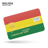 Credit card with Bolivia flag background for bank, presentations and business. Isolated on white