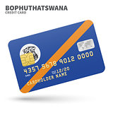 Credit card with Bophuthatswana flag background for bank, presentations and business. Isolated on white