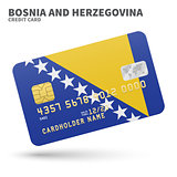 Credit card with Bosnia and Herzegovina flag background for bank, presentations, business. Isolated on white