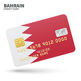 Credit card with Bahrain flag background for bank, presentations and business. Isolated on white