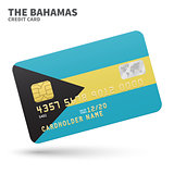 Credit card with Bahamas flag background for bank, presentations and business. Isolated on white