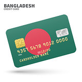 Credit card with Bangladesh flag background for bank, presentations and business. Isolated on white