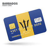 Credit card with Barbados flag background for bank, presentations and business. Isolated on white