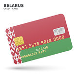 Credit card with Belarus flag background for bank, presentations and business. Isolated on white
