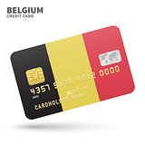 Credit card with Belgium flag background for bank, presentations and business. Isolated on white