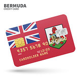 Credit card with Bermuda flag background for bank, presentations and business. Isolated on white