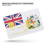 Credit card with British Antarctic Territory flag background for bank, presentations and business. Isolated on white