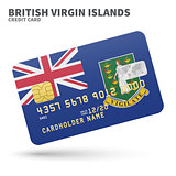 Credit card with British Virgin Islands flag background for bank, presentations and business. Isolated on white
