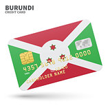 Credit card with Burundi flag background for bank, presentations and business. Isolated on white