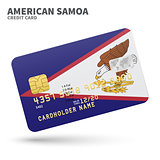 Credit card with American Samoa flag background for bank, presentations and business. Isolated on white