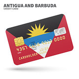 Credit card with Antigua and Barbuda flag background for bank, presentations, business. Isolated on white