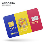 Credit card with Andorra flag background for bank, presentations and business. Isolated on white