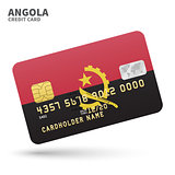 Credit card with Angola flag background for bank, presentations and business. Isolated on white
