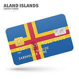 Credit card with Aland Islands flag background for bank, presentations and business. Isolated on white