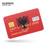Credit card with Albania flag background for bank, presentations and business. Isolated on white