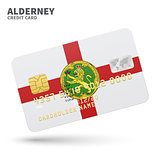 Credit card with Alderney flag background for bank, presentations and business. Isolated on white