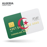 Credit card with Algeria flag background for bank, presentations and business. Isolated on white