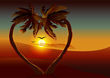 Night tropical island. Two palm tree in shape of heart