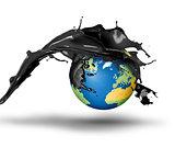 Oil bursting over planet Earth