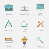 Creative design color line icons