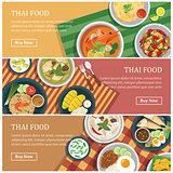 Thai food web banner.Thai street food coupon.