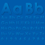 Alphabet letters on a blue background