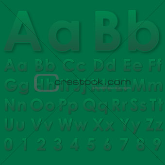 Alphabet letters on a green background
