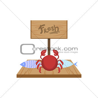 Fresh Crab On Market Counter