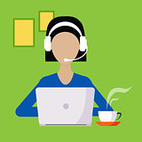 Woman With Hands Free And Lap Top Working Freelance