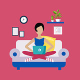 Woman Sitting On Sofa Working Freelance