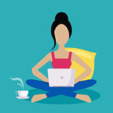 Girl Sitting At Home Working Freelance